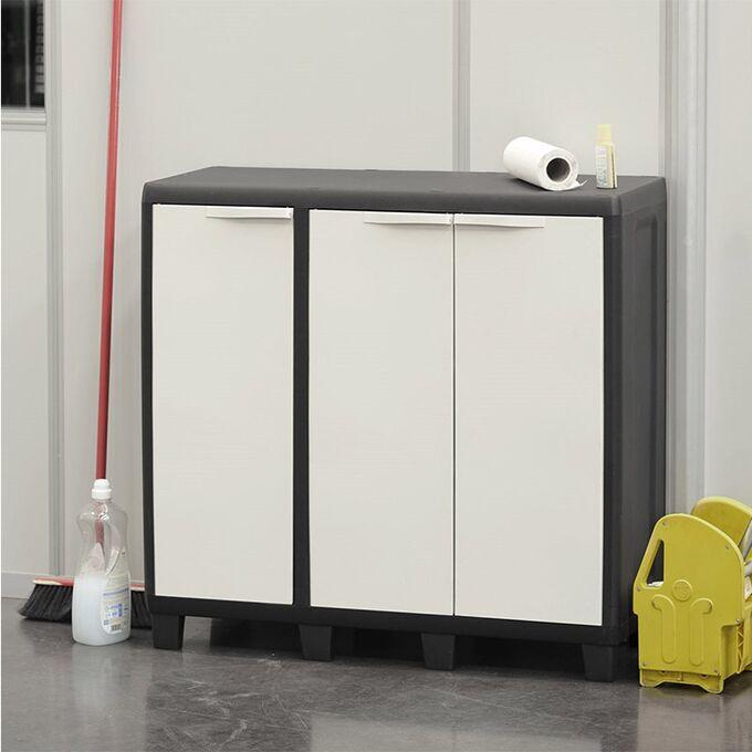 TOOMAX ITALY Πλαστική Ντουλάπα 97x38x94cm 11.5kg 3φυλλη με 8 Ρυθμιζόμενα Πόδια και Ρυθμιζόμενο Ράφι FACTORY S Milk White-Black Πιστοποίηση TUV/GS
