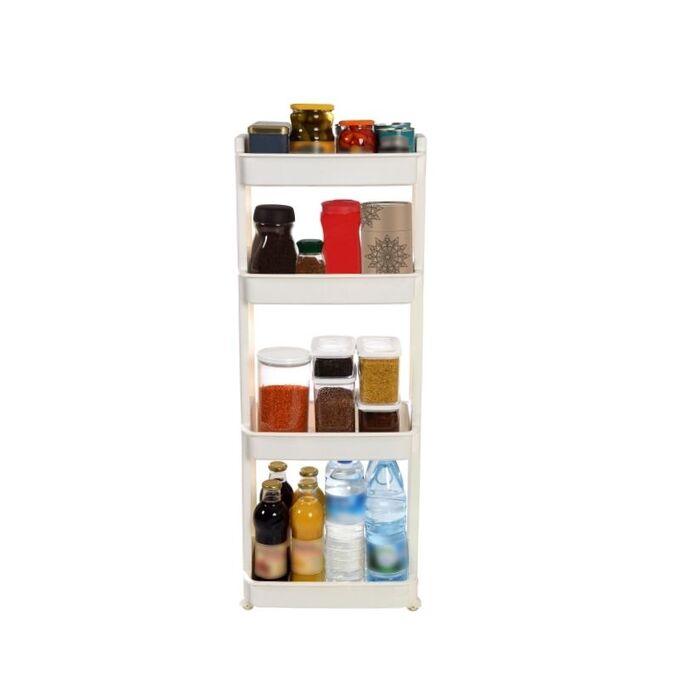 Τρόλεϊ Κουζίνας/Μπάνιου 37.5x23x101cm Πλαστικό 4όροφο με Ρόδες Λευκό