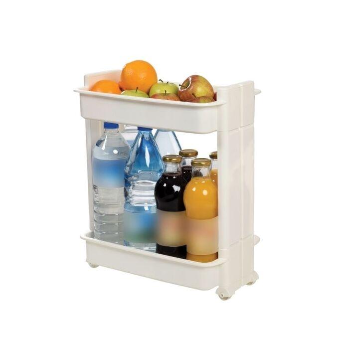 Τρόλεϊ Κουζίνας/Μπάνιου 37.5x23x45cm Πλαστικό 2όροφο με Ρόδες Λευκό