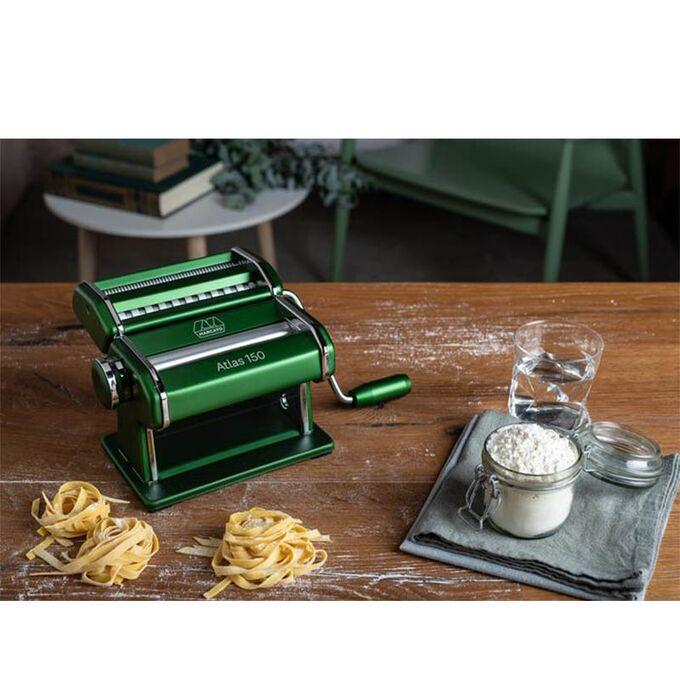 Marcato ATLAS150 DESIGN ΑΛΟΥΜΙΝΙΟ Ανοδιωμένο Βαμμένο Μηχανή Φύλλου και Ζυμαρικών 20x20x15.5cm Διαιρούμενη MAX Πλάτος Ζύμης 15cm Βάρος 1.68kg Πράσινο Ιταλίας