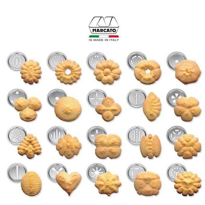 Marcato Μπισκοτομηχανή Design 2 Επιπέδων 5.5x5.5x21cm με 20 Κεφαλές για Μπισκότα Ανοδιωμένο Αλουμίνιο Κόκκινο Ιταλίας