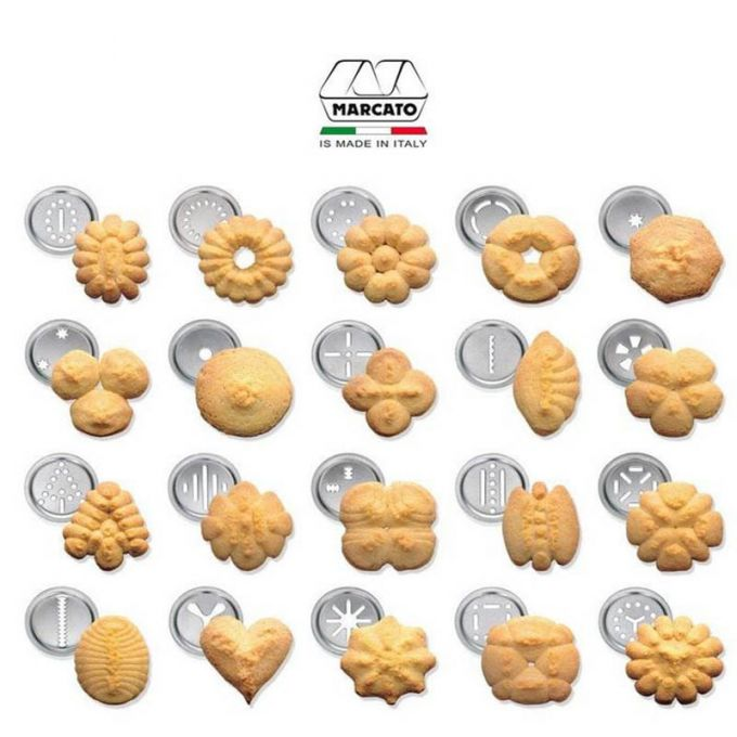 Marcato Μπισκοτομηχανή Design 2 Επιπέδων 5.5x5.5x21cm με 20 Κεφαλές για Μπισκότα Ανοδιωμένο Αλουμίνιο Μπλε Ιταλίας