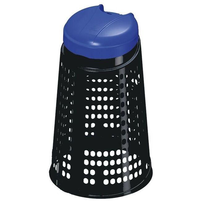 Κάδος Απορριμάτων/Ανακύκλωσης 110lt ECOBIN Διάτρητος Πλαστικός Ø50xØ37x85.5cm Οικιακός/Κήπου/Επαγγελματικός Μαύρος Μπλε Καπάκι ARTPLAST Ιταλίας
