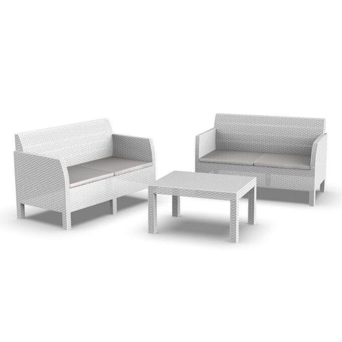 TOOMAX ITALY Καθιστικό-Σαλόνι Κήπου 4 Ατόμων 2 Καναπέδες + Τραπέζι Κήπου Πολυπροπυλένιο Rattan Λευκό MATILDE SPECIAL 4 SEATS