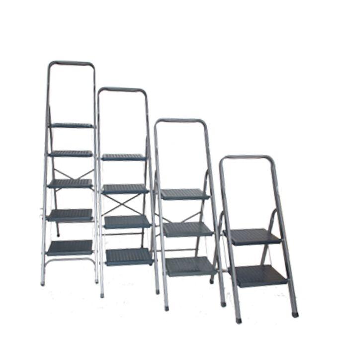 ΒΑΣΟΜΗΧΑΝΙΚΗ Σκαλοσκαμπό Αλουμινίου 43.5x107x180cm Σκάλα με 5 Πλαστικά Σκαλιά Αντοχή Βάρους 150kg Πιστοποίηση ΕΝ 131-1 Βάρος 7.18kg