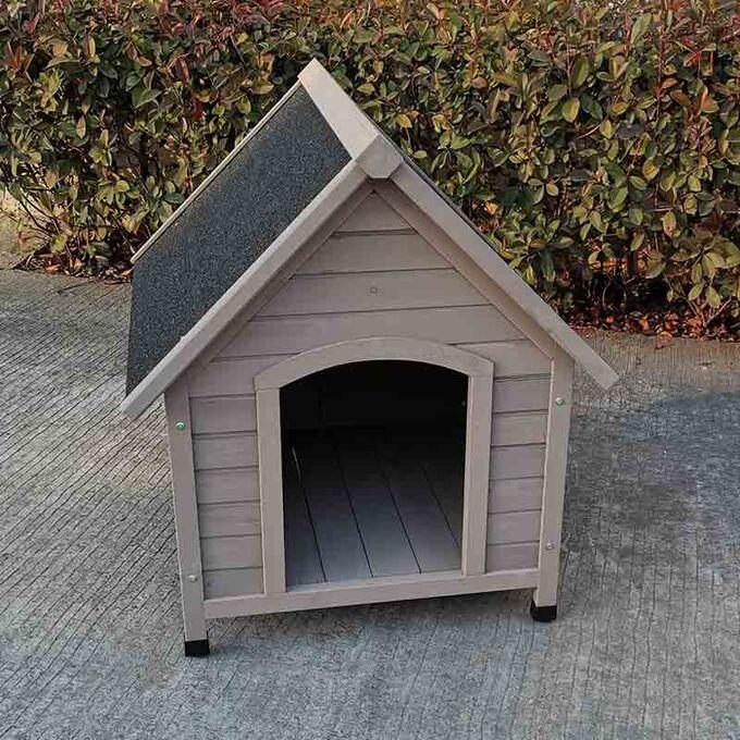 VESTA Ξύλινο Σπιτάκι Σκύλου MEDIUM 78x88x81cm 20.4kg Φυσικό Ξύλο Ελάτης-Ανθρακί