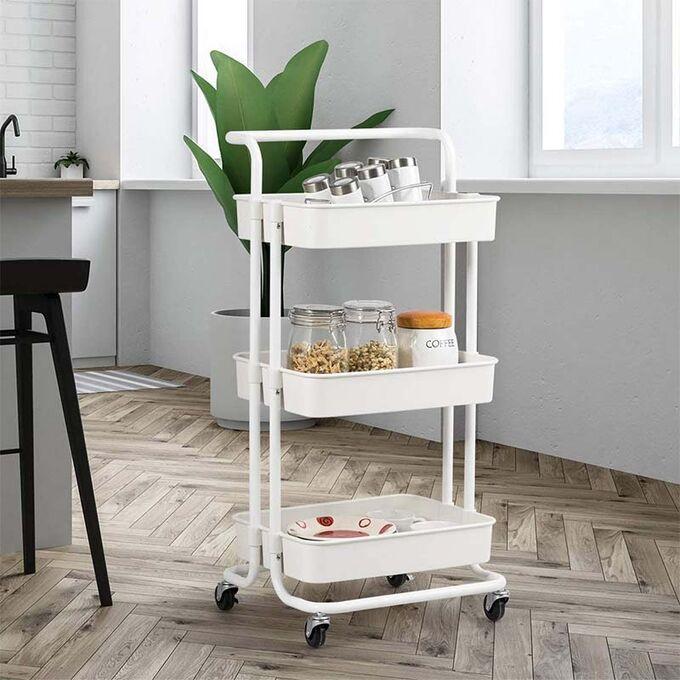 VESTA Πολυχρηστικό Τρόλεϊ Κουζίνας/Μπάνιου/Επαγγελματικό 43x34x85.5cm Μεταλλικό με Χειρολαβή / 3 Πλαστικά Ράφια 41x30x7.5cm και Ρόδες 360° 3.6kg Λευκό