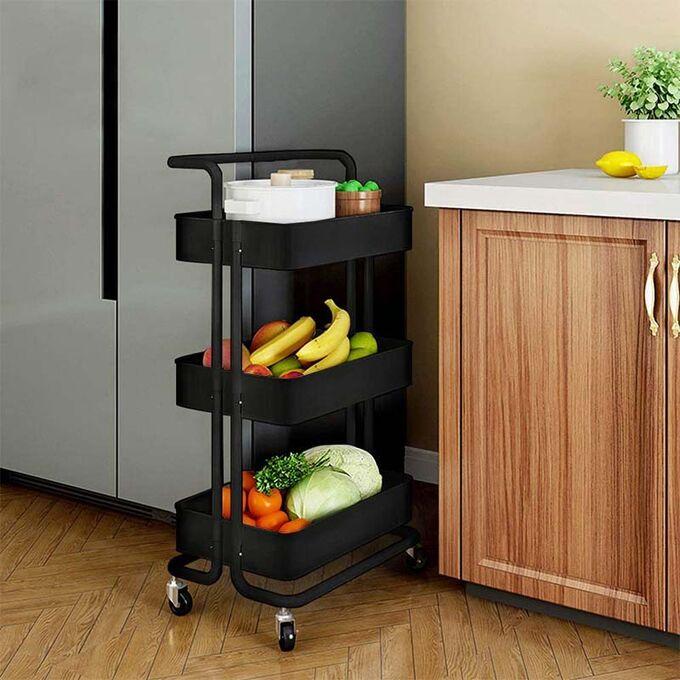 VESTA Πολυχρηστικό Τρόλεϊ Κουζίνας/Μπάνιου/Επαγγελματικό 43x34x85.5cm Μεταλλικό με Χειρολαβή / 3 Πλαστικά Ράφια 41x30x7.5cm και Ρόδες 360° 3.6kg Μαύρο