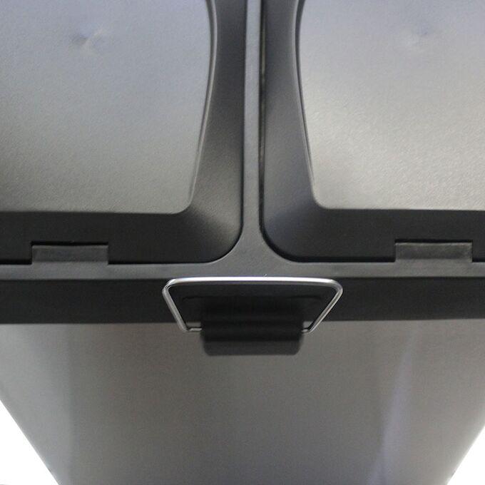 VESTA Κάδος Απορριμμάτων 30lt 40x34x47.5cm με Πεντάλ 2 Θέσεων 2 Εσωτερικούς Κάδους Ανακύκλωσης Μεταλλικός Μαύρο Ματ 5.7Kg Κουζίνας