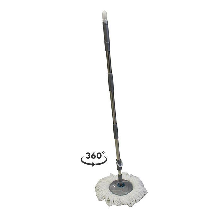 SPIN MOP Welle Κουβάς Σφουγγαρίσματος 49x30x31cm 19lt 2.38kg με Περιστρεφόμενο Σύστημα Σφουγγαρίσματος 360° + Κοντάρι Μαύρο Κόκκινο