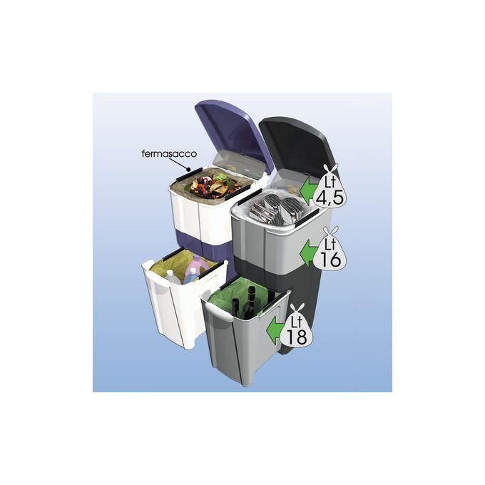 Κάδος Ανακύκλωσης Απορριμάτων 28x39x70cm Τριπλός Πλαστικός Κουζίνας 38.5lt Λευκό-Ανοιχτό Γκρι 2.5kg