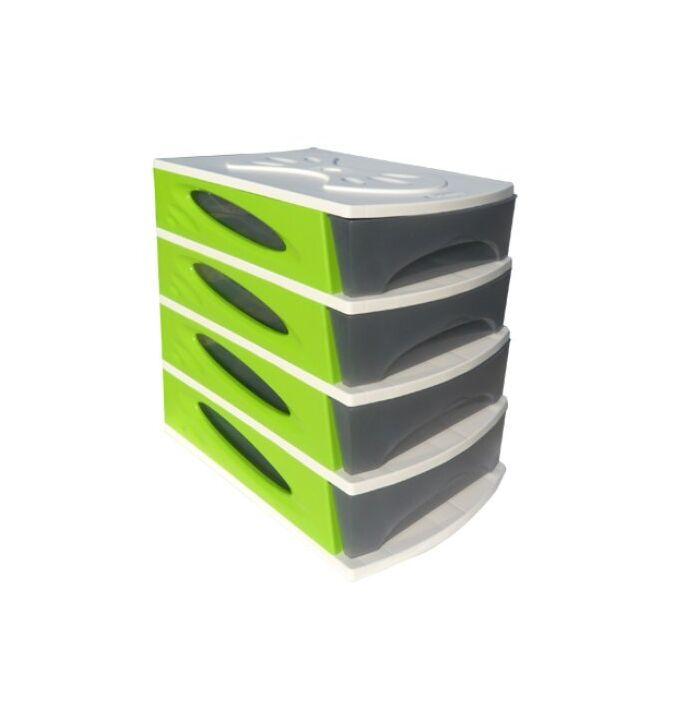 Πλαστική Συρταριέρα 26x35x39cm 4όροφη Γκρι-Λευκό-Λαχανί BAMA GROUP Ιταλίας