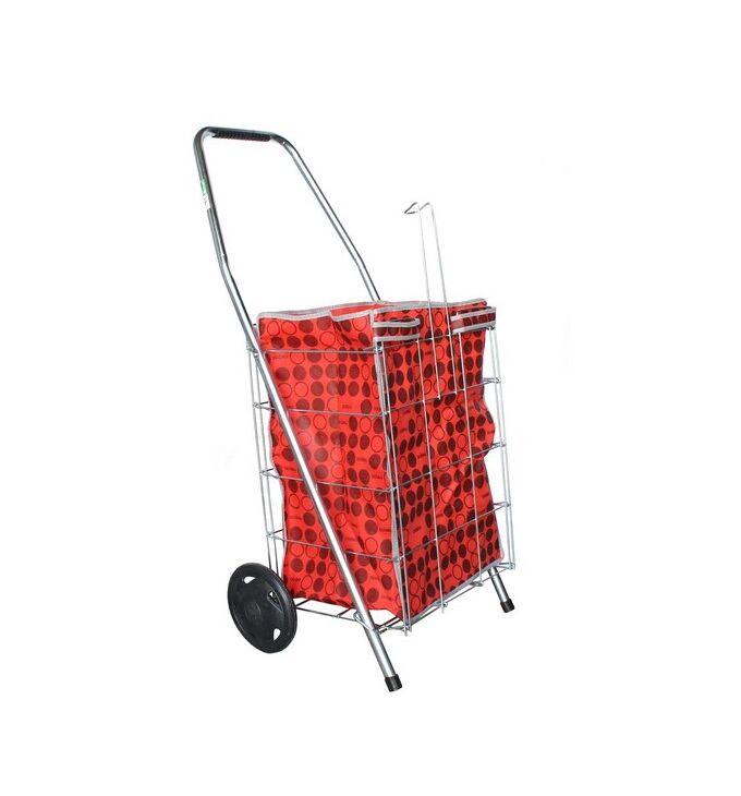 Καρότσι Λαϊκής Συρμάτινο 55lt 45x42x93cm Πτυσσόμενο 2.4kg Αντοχή 30kg Κόκκινη Τσάντα