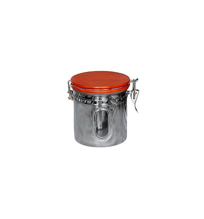 Βάζο Στρογγυλό ΙΝΟΧ με Ξύλινο Καπάκι και Κλιπ