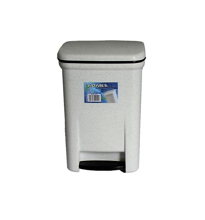 Κάδος Μπάνιου Πεντάλ 13.5lt 25x22x32cm Εσωτερικό Κάδο 7lt 18x18x24cm Πλαστικός Λευκός Γρανίτης VIOMES Ελλάδας