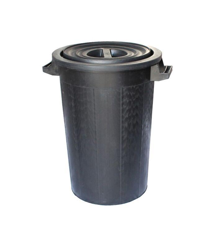 Κάδος Σκουπιδιών 100lt Φ52.5x65cm Πλαστικός με Καπάκι 3.72Kg Επαγγελματικός Μαύρος