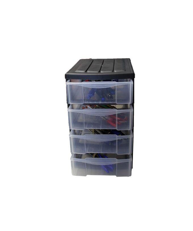 Συρταριέρα Πλαστική Mini 17x25x27cm Γραφέιου Ανθρακί με Διάφανα Συρτάρια BAMA Ιταλίας