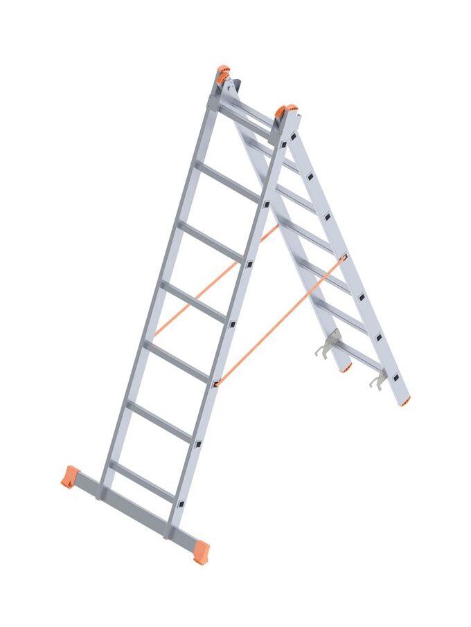 Σκάλα Αλουμινίου 2x7 Σκαλιά Αναπτυσσόμενη 3m Διπλή-Σχήμα ''Λ'' με Βάση Στηρίγματος 7.8kg Αντοχή 150kg SN7207