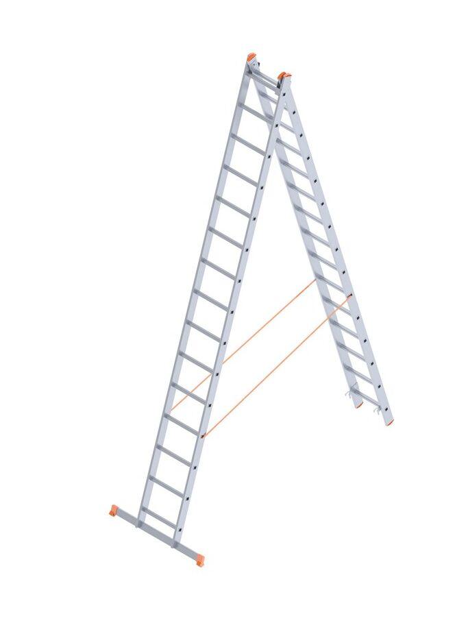 Σκάλα Αλουμινίου 2x15 Σκαλιά Αναπτυσσόμενη 7.33m Διπλή-Σχήμα ''Λ'' με Βάση Στηρίγματος 20.3kg Αντοχή 150kg SN7215