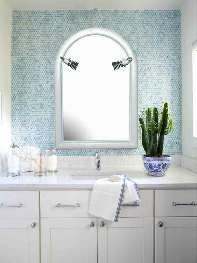 Καθρέπτης Μπάνιου Ημικυκλικός Α' 53x70cm με 2 Σποτ Λευκός BEGA PLAST Ελλάδας