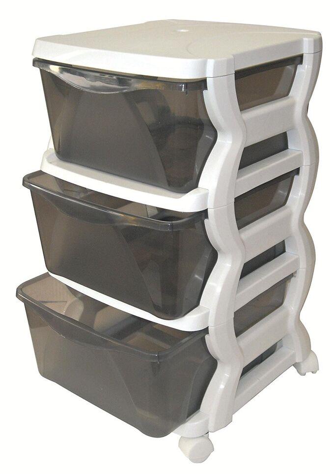 Πλαστική Συρταριέρα 36x40x62cm 3όροφη Λευκό-Γκρι με Ρόδες BAMA GROUP Ιταλίας